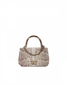 Chanel Brown/White Python Carry Chic Small Top Handle Bag