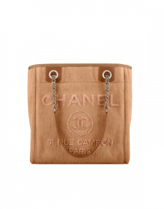 Chanel Camel Canvas with Sequins Deauville Mini Shopping Bag