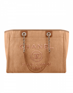Chanel Camel Canvas with Sequins Deauville Small Shopping Bag