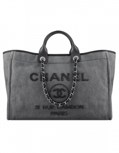 Chanel Charcoal Canvas with Sequins Deauville Large Shopping Bag