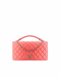 Chanel Coral Handle Tied Flap Bag
