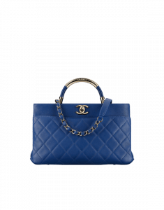 Chanel Dark Blue Carry Chic Small Shopping Bag