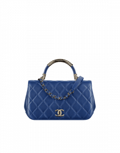 Chanel Dark Blue Carry Chic Small Top Handle Bag