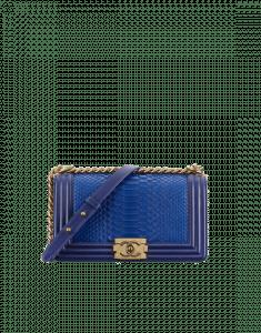 Chanel Dark Blue Python Old Medium Boy Chanel Flap Bag