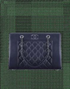 Chanel Dark Navy Blue Mademoiselle Vintage Large Shopping Bag