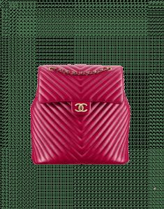 Chanel Dark Pink Chevron Urban Spirit Large Backpack Bag