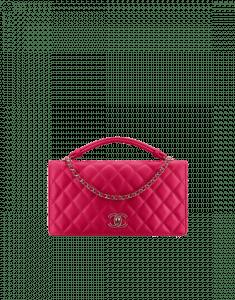 Chanel Dark Pink Handle Tied Flap Bag