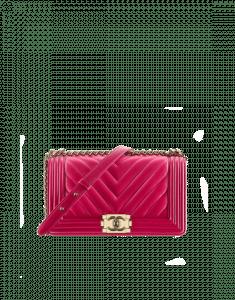 Chanel Fuchsia Chevron Old Medium Boy Chanel Flap Bag
