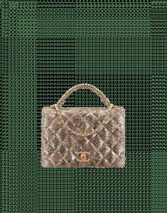 Chanel Gold Python Top Handle Bag