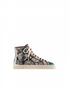 Chanel Gray/Green/Brown Python:Iridescent Goatskin High Cut Sneakers