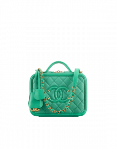 Chanel Green CC Filigree Vanity Case Small Bag