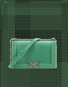 Chanel Green Chevron Braided New Medium Boy Chanel Flap Bag