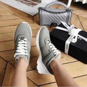 Chanel Khaki Calfskin/Fabric Sneakers