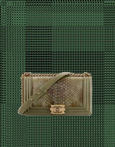 Chanel Khaki Python Old Medium Boy Chanel Flap Bag