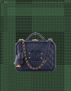 Chanel Navy Blue CC Filigree Vanity Case Medium Bag