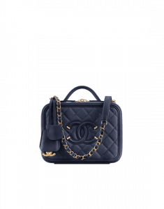 Chanel Navy Blue CC Filigree Vanity Case Small Bag