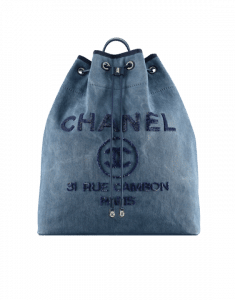 Chanel Navy Blue Canvas with Sequins Deauville Large Backpack Bag