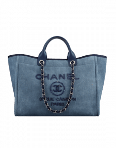 Chanel Navy Blue Canvas with Sequins Deauville Medium Shopping Bag
