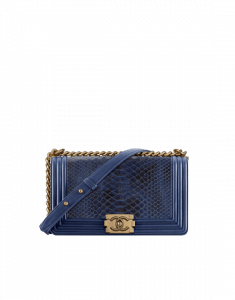 Chanel Navy Blue Python Old Medium Boy Chanel Flap Bag