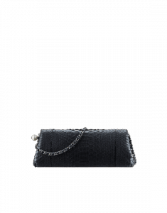 Chanel Navy Blue Python with Fantasy Pearls Clutch Bag