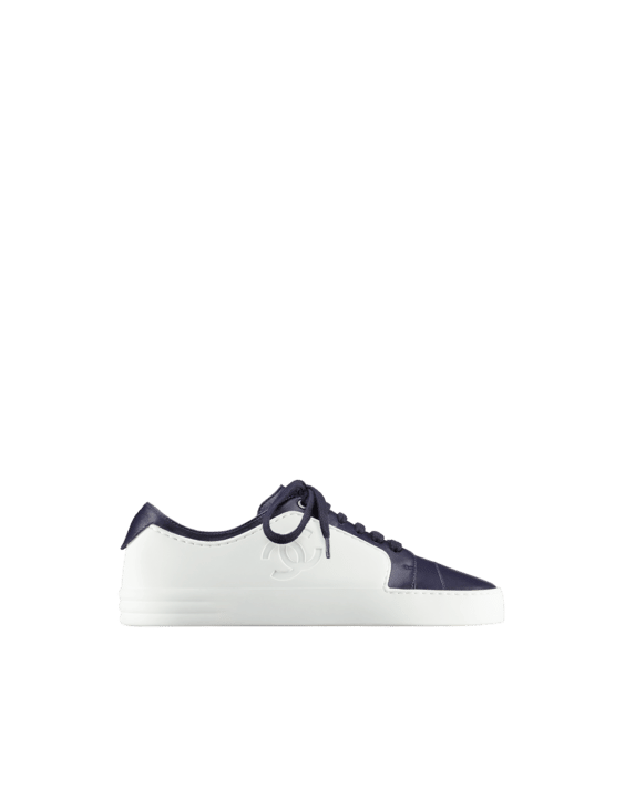 chanel sneakers. chanel navy blue/white calfskin sneakers