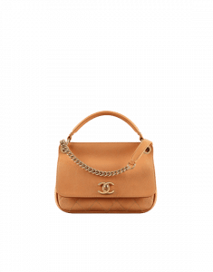 Chanel Orange Grained Calfskin Small Top Handle Flap Bag
