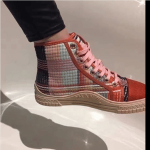 Chanel Orange/Pink Tweed Sneakers