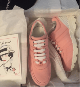 Chanel Pink Calfskin/Fabric Sneakers
