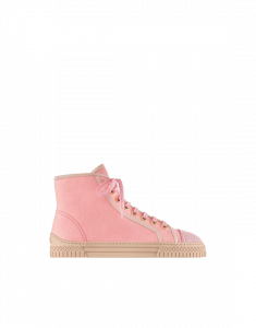 Chanel Pink Fabric/Tweed High Cut Sneakers