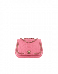 Chanel Pink Python Braided Chic Small Flap Bag