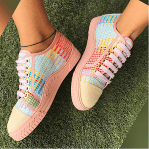 Chanel Pink/Light Blue Tweed Sneakers