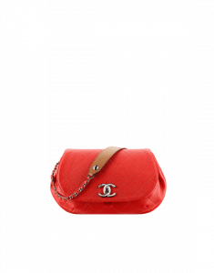 Chanel Red/Brown Grained Calfskin Small Flap Bag