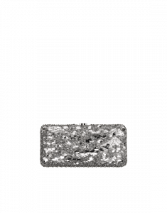 Chanel Silver Grained Metallic Embroidered Evening Bag