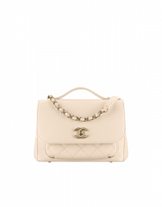 Chanel White Business Affinity Medium Top Handle Bag