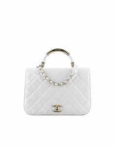 Chanel White Carry Chic Medium Top Handle Bag