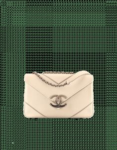 Chanel White Chevron Small Flap Bag