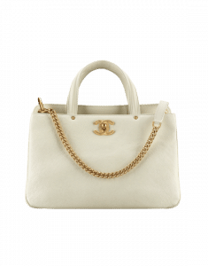Chanel White Grained Calfskin Small Shopping Bag