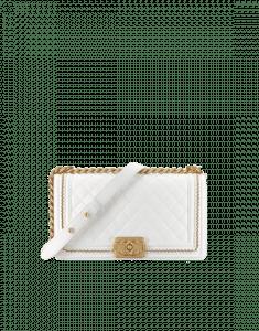 Chanel White Old Medium Boy Chanel Jacket Flap Bag