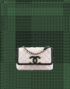 Chanel White/Black CC Filigree Flap Small Bag