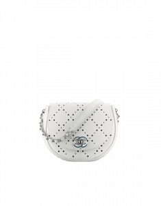 Chanel White/Blue Perforated CC Shop Small Messenger Bag