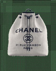 Chanel White/Dark Navy Blue Raffia:Calfskin Deauville Large Backpack Bag