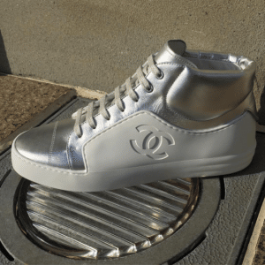 Chanel White/Silver High Cut Sneakers