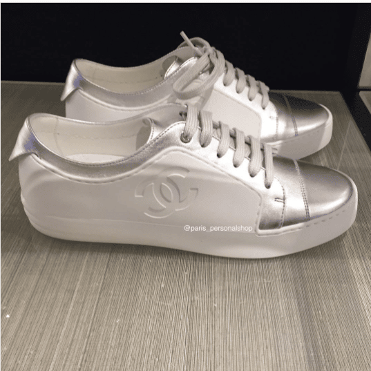 chanel sneakers. chanel white/silver sneakers