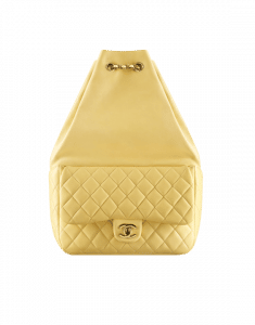 Chanel Yellow Quilted Lambskin Large Backpack Bag