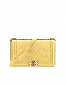 Chanel Yellow Quilted New Medium Boy Chanel Flap Bag