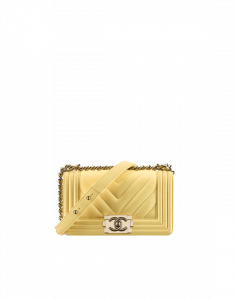 Chanel Yellow Small Chevron Boy Chanel Flap Bag