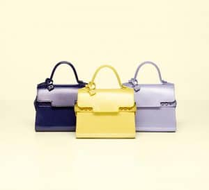 Delvaux Indigo / Citron / Lilas Vernis Gel Tempete Micro Bag