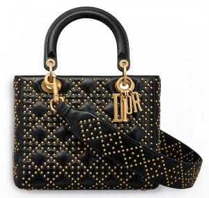 Dior Black Studded Calfskin Supple Lady Dior Bag