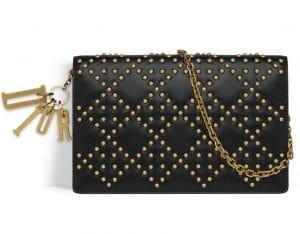 Dior Black Studded Lady Dior Wallet on Chain Bag