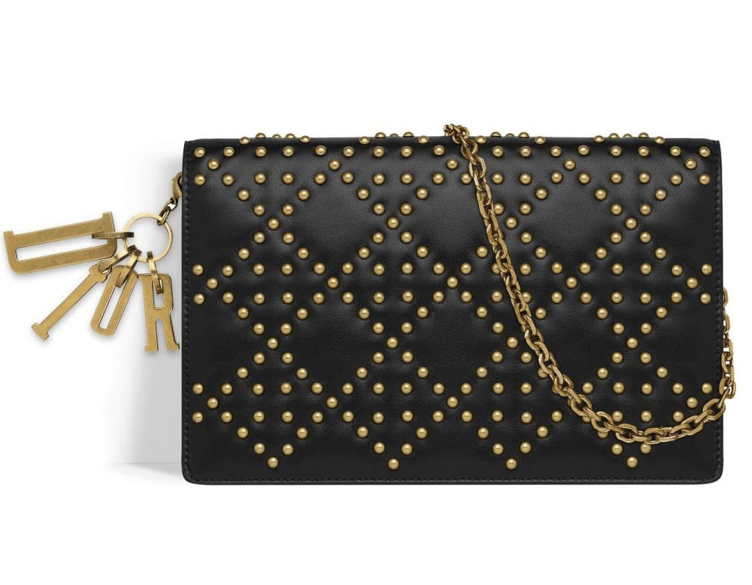 Dior Black Studded Lady Dior Wallet on Chain Bag f36f6f949835f
